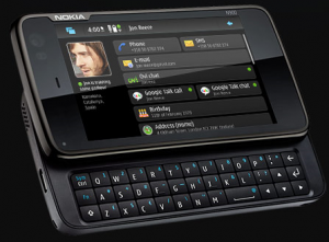 Nokia N900 front view with qwerty pads