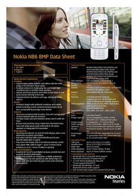 Nokia N86 features and Specification